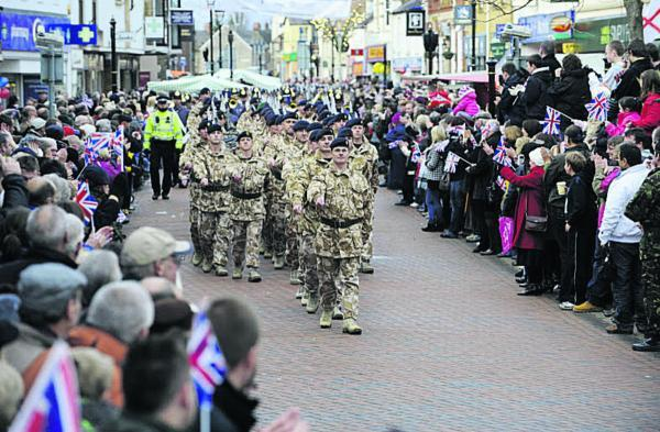 The Oxford Times: Soldiers from 23 regiment on parade in Bicester in November 2009
