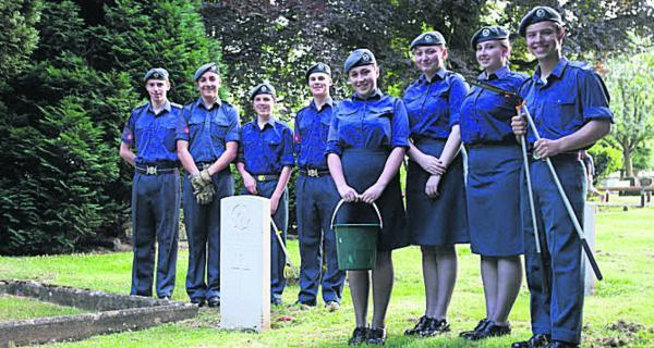 Witney Air Cadets at a war grave at Tower Hill Cemetery