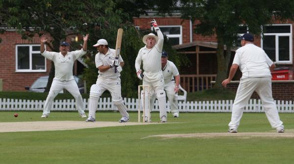 Challow & Childrey wicket-keeper Chris Warboys leads an unsuccessful appeal for lbw against Abingdon Vale's Amith Premkumar, who went on to make 50