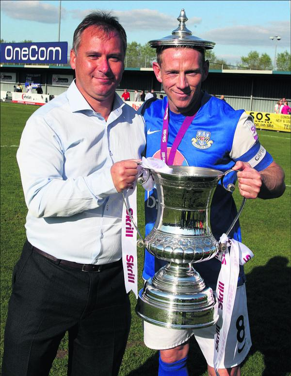 Stewart Donald (left) tasted promotion as owner of Eastleigh in Conference South last season