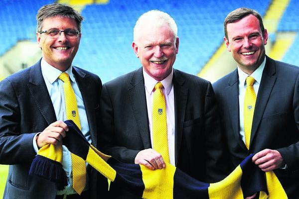 From left, Darryl Eales, Ian Lenagan and Mark Ashton at the Kassam Stadium yesterday          	 Picture: Ed Nix