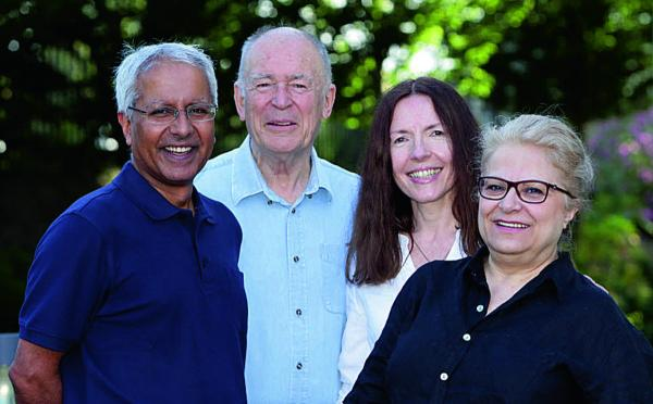 Dennis Hamley, second left, with colleagues from left, Kamal Lathar, Frauke Woenig and Cherry Mosteshar, who are starting a new publishing business