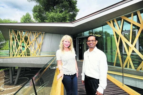Claire Marriott with new benefits adviser Atif Kaudri outside the centre