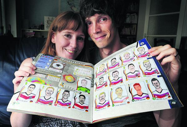 Alex and Sian Pratchett finished their home-drawn Panini World Cup sticker book as the tournament ended. The album was finished with a self portrait
