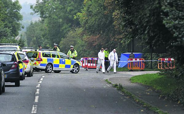 The scene of the incident in a lay-by alongside the A361 near Burford Golf Club and Burford School