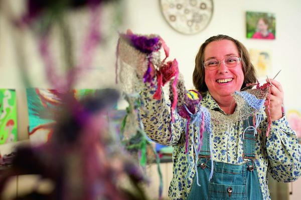 multimedia: Marianne Boyce, 42, uses sewing and knitting in her artwork at Crisis Skylight