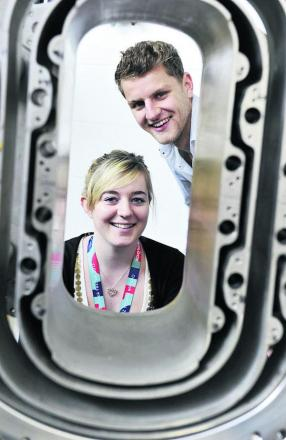Jaimee Dawson, left, and Dominic Callaghan at Culham Centre for Fusion Energy
