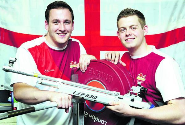 Ben Watson (left) and Dan Rivers pictured at St Birinus School with their Commonwealth Games equipment