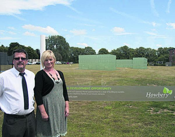Robert Pickford of Wallingford School and Angela Andrews at Howbery Business Park's development site