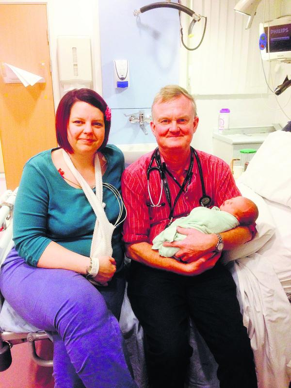 Lianne Moody and Dr Oliver Ormerod, Consultant Cardiologist, who helped her with a heart condition when she had son Charlie