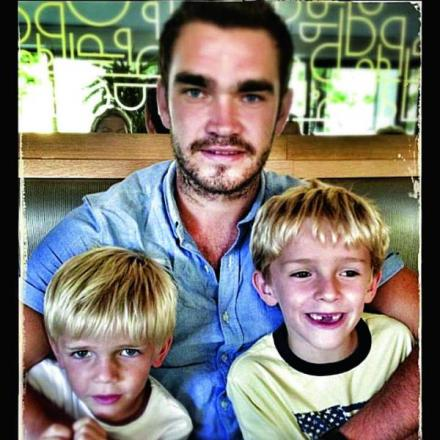 Jordan Tabor and his brothers Charlie, left, six and Finlay, seven