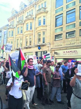 Protesting about the situation in Gaza