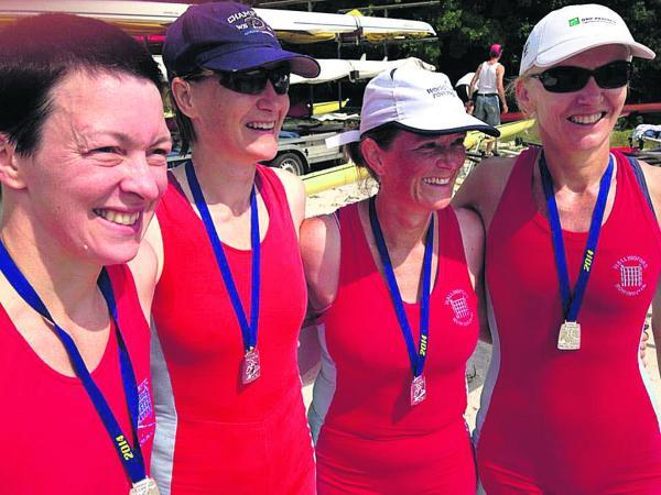 Wallingford's coxless four won at the European Masters Regatta in Munich (from left): Katie Kapanaeros, Rachel Edge, Alice Brown and Julia Wilks
