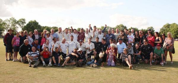 Great & Little Tew's players and supporters celebrate their victory at Dinton, which earned a place in the Davidstow Village Cup final at Lord's
