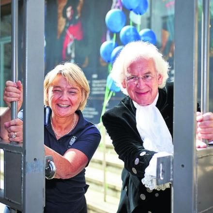 Debbie Dance of the Oxford Preservation Trust, and Oxfordshire High Sheriff Tony Stratton launch this year's Open Doors event. Pictu