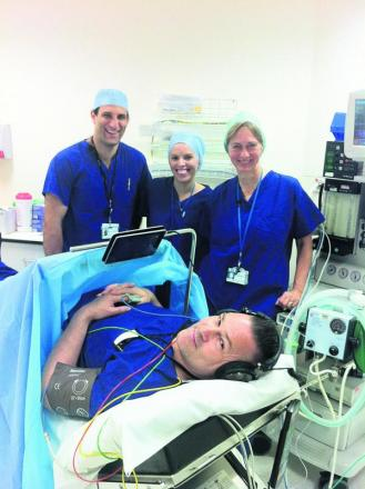 From left, Dr Vassilis Athanassoglou, Dr Anna Wallis and consultant Dr Svetlana Galitzine, with Mik Ashfield, senior operating department practitioner demonstrating the equipmen