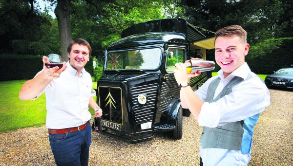 Alistair Sanderson and Andrew Gregory with their mobile cocktail bar