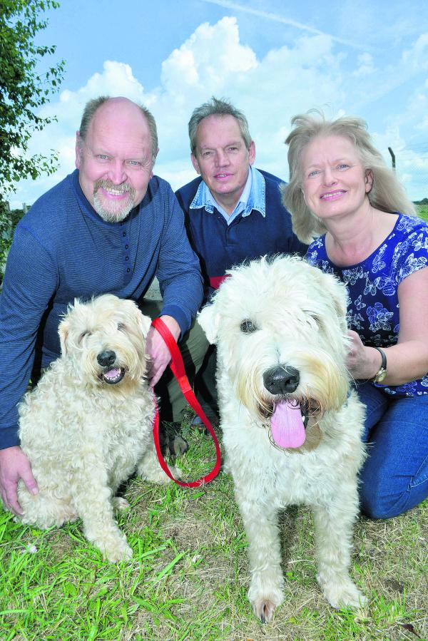 From left, Norman Holifield, with Tarka; Bicester councillor Les Sibley and Marion Jeskowiak with Finch