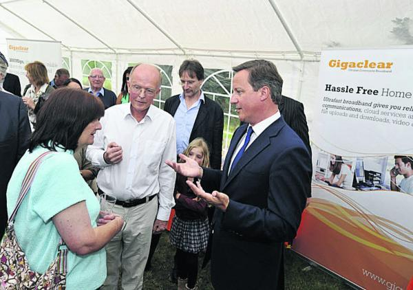 Prime Minister David Cameron talks to Northmoor villagers