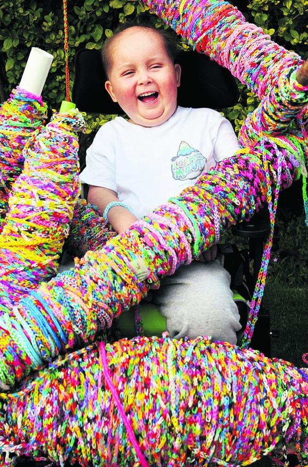 Skye Hall with some of the loom bands he has received