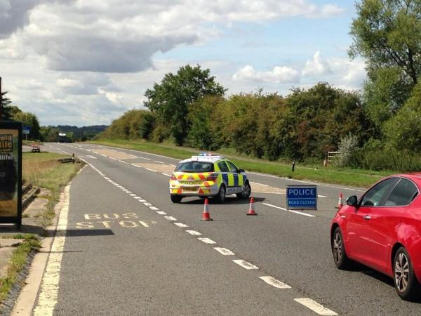 A police roadblock on the A40 at Barnard Gate, west of Eynsham. Picture: Jon Lewis