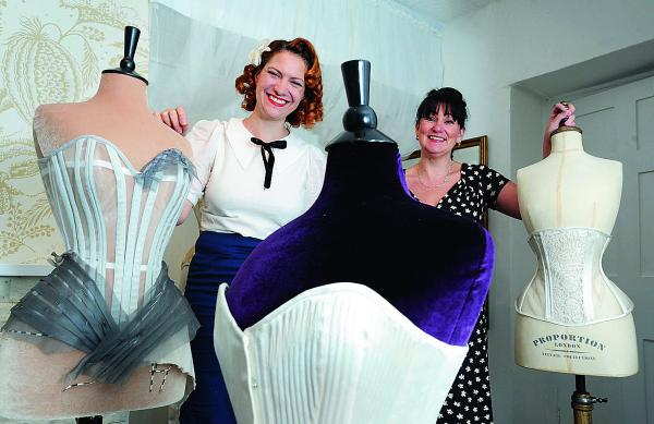 Julia Bremble, right, and one of the event's international contributors, corset maker Gerry Quinton, from Chicago, who owns Morua Designs