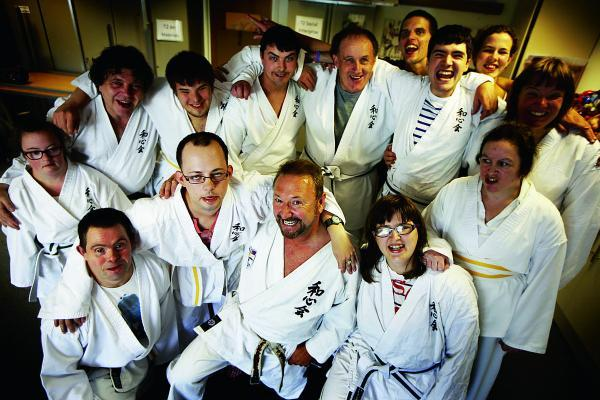 Ray Sweeney's martial arts class for people with learning disabilities. Ray is pictured at the front in the middle      Picture: OX69321 Ed Nix