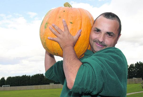 Stephen Jeffries with his winning pumpkin
