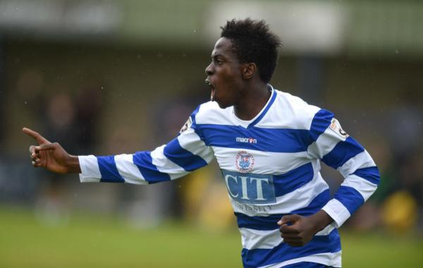Bidemi Afolabi celebrates his first goal for Oxford City, which put them 2-1 up