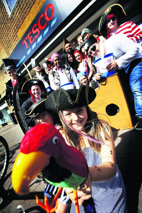 Cheyanne Waller, left, aged eight, and Ella Grace Odell, nine, with the Tesco pirates