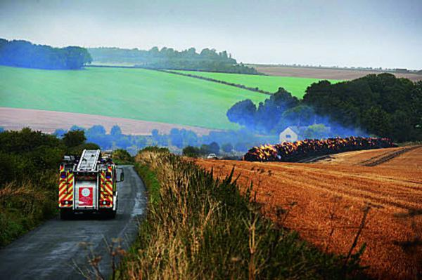 The haystack fire near Wantage  	                         Picture: Jon Lewis