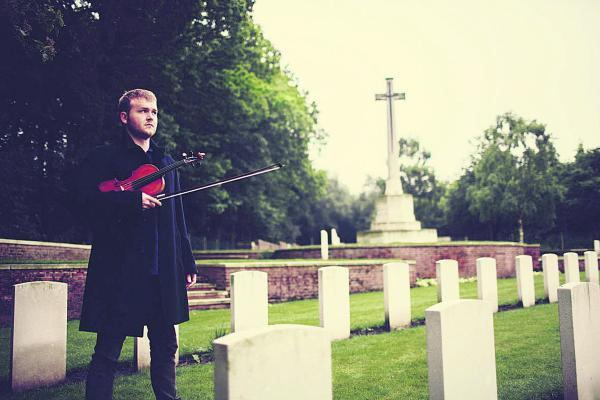 Poignant: Sam Sweeney visits violin-maker Richard Howard's grave