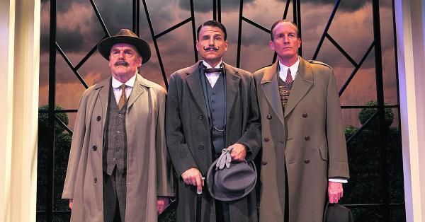 On the case: From left, Inspector Japp (Eric Carte), Hercule Poirot (Jason Durr) and Captain Hastings (Robin McCallum)