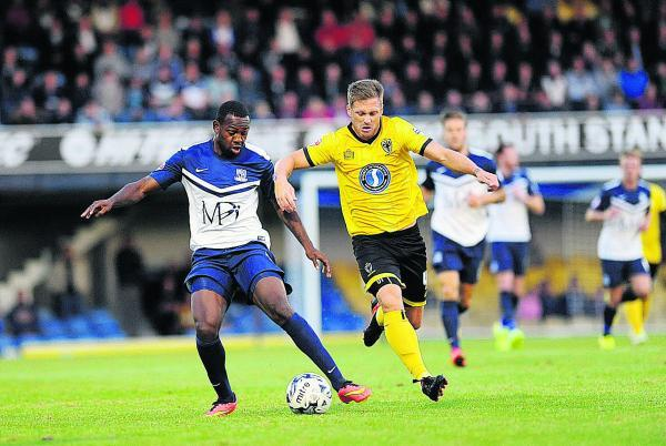Myles Weston (left) in action for Southend this week. The forward came close to signing for Oxford United in June     Picture: Echo Newspapers
