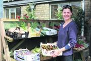 Growing: Vix Mills with some locally grown heritage tomatoes and other produce