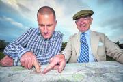 David Leach, left and Andrew Sharp examine the route of their proposed West Oxfordshire monorail