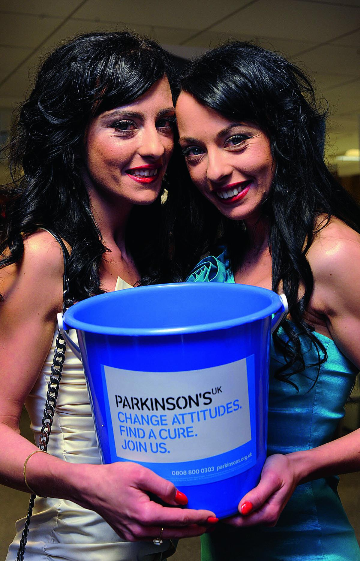 Cheeky Girls Monica, right, and Gabriela Irimia were in East Hendred for a table football marathon to raise money for Parkinson's UK