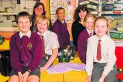 From left, Year 6 pupils at Benson CofE Primary School, Matthew Jarvis, Luke Ogden, both 10, deputy headteacher Shelley Mottram, Briannan Pearson, 10, headteacher Helen Crolla, Fallon West and Ava Viccari, both 10. Picture: OX71648 Greg Blatchford