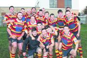 Bicester players are jubilant after their 76-0 trouncing of Milton Keynes on Saturday