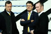 Pictured (from left) Oxford United chief executive Mark Ashton, chairman Darryl Eales and head coach Michael Appleton
