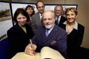 Former county council leader Keith Mitchell, front, with, from the left, embattled chief executive Joanna Simons, plus Caroline Bull, Alex Hollingsworth, Paul Hudson and Sally Dicketts at the signing of a memorandum of understanding in 2005.