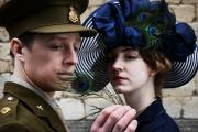 Symbolic feather: Pete Ashmore as wartime soldier and poet Siegfried Sassoon with Rachel-Mae Brady as Lady Ottoline Morrell — who in the First World War turned Garsington Manor into a haven for writers and pacifists — outside Oxford Town Hall