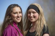 Nina Greasby, 17, left, has helped her twin Annalie through cancer and will step out in Sunday's OX5 Run. Picture: Mark Hemsworth