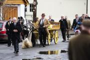 The horse-drawn hearse carrying Peter Willis through Brightwell-cum-Sotwell. Picture: Mark Hemsworth