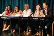 The panel: Adam Buick representing Socialist Party candidate Mike Foster, Lib Dem Layla Moran, chairman Tracey Oakden, John Tanner representing Labour candidate Sally Copley, Larry Sanders of the Green Party and Matthew Barber for Nicola Blackwood