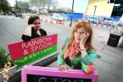 Amanda Suliman-Bell of the Rainbow and Spoon boutique, right, and Anny Benadel of La Croissanterie pictured by the Frideswide Square roadworks, which are affecting their businesses