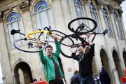 Pedal power: Bike shop owners Tom and Stuart Dingle at Abingdon's cycling festival