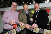 Alexander Armstrong, centre, opening the festival. He is pictured with Chris Keating of sponsors Wychwood and the Rev Toby Wright