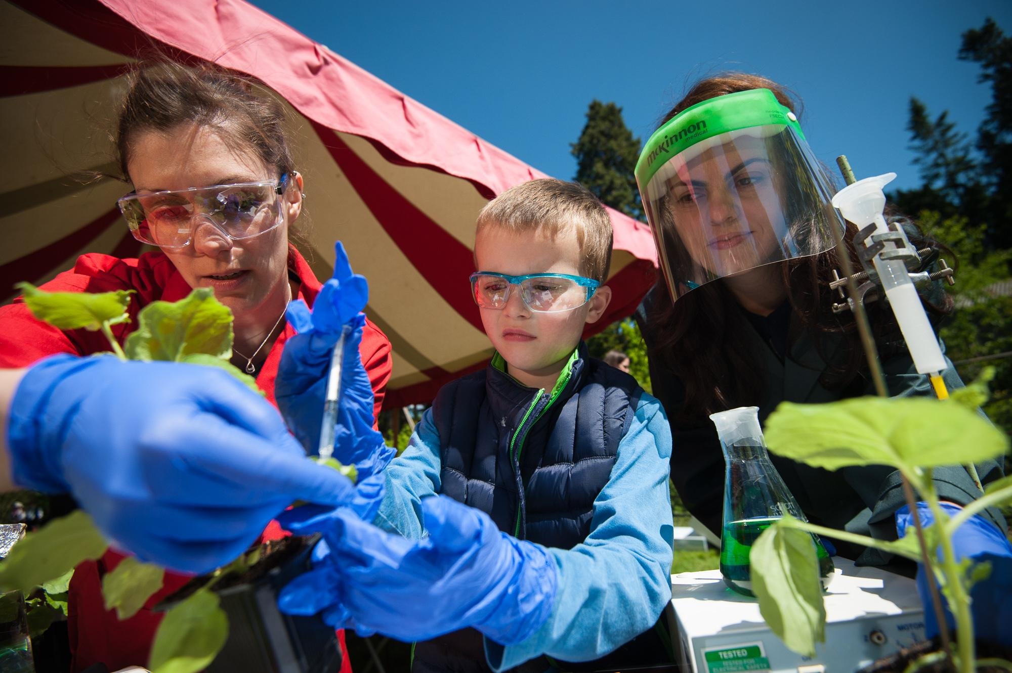 Hands-on: Judith Paulus, left, and Luisa Madeira of Oxford University's department of plant sciences, with six-year-old Robbie Tidmarsh at the plant day Harcourt Arboretum at Nuneham Courtenay held on Saturday