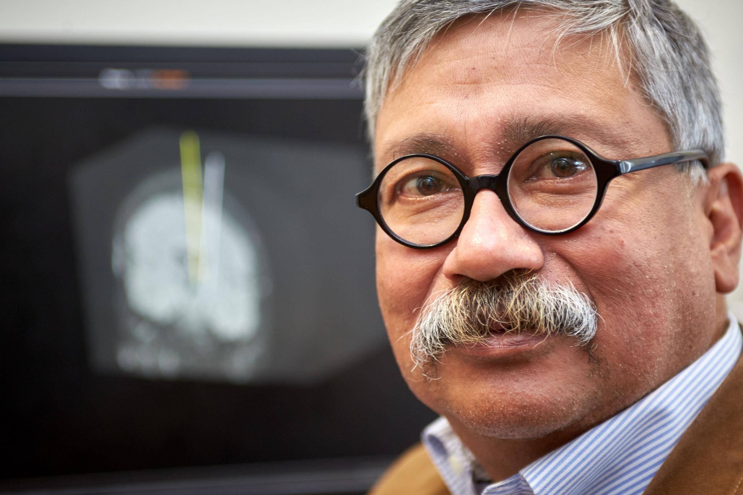 Neurosurgeon Tipu Aziz pictured in his office in the John Radcliffe Hospital